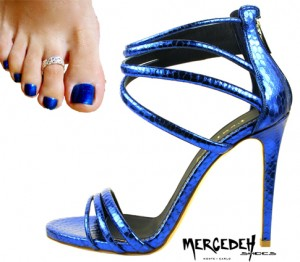Matching sandals and pedicure, electric blue