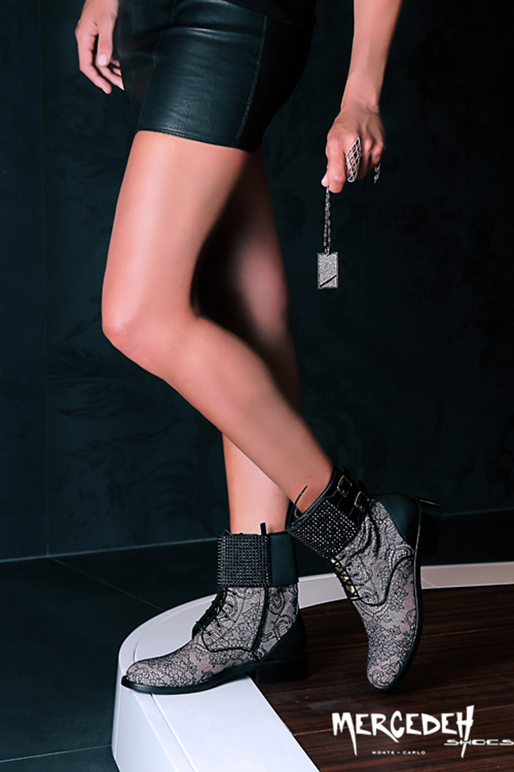 combat boots, lace and crystlas, Mercedeh-Shoes FW2014