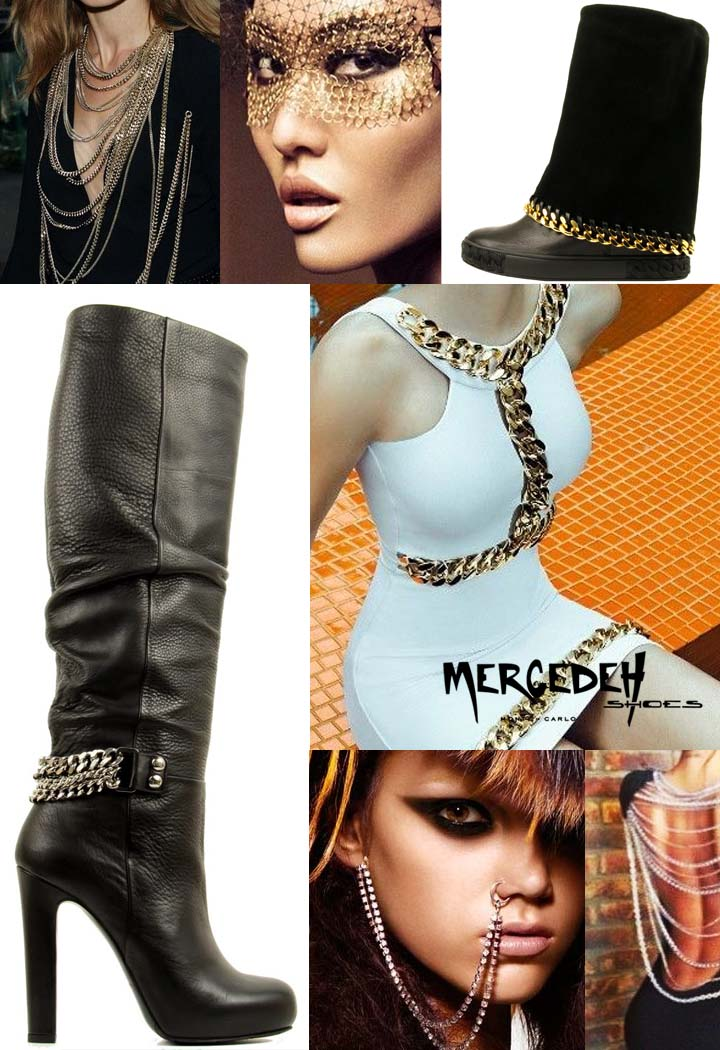 boots adorned with chains, Mercedeh-Shoes FW2014